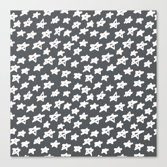 Stars on grey background Canvas Print
