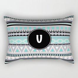 Monogram Tribal Pattern *U* Rectangular Pillow