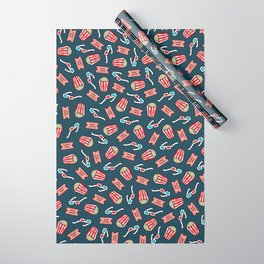 Movie Pattern in Dark Blue Wrapping Paper