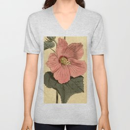 Vintage Illustration of a Hibiscus Flower (1806) Unisex V-Neck