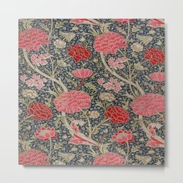 William Morris Floral Red and Pink Art Nouveau Textile Patter Metal Print