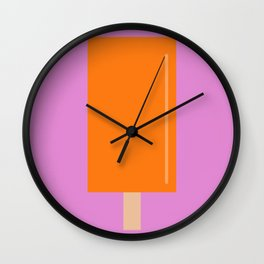 Orange Popsicle with pink background Wall Clock