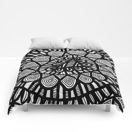 Black and White Doodle 7 Comforters