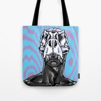 trex Tote Bags featuring TREX: MALE by Marques Cannon