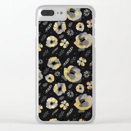 Charcoal & Gold Floral Pattern Clear iPhone Case