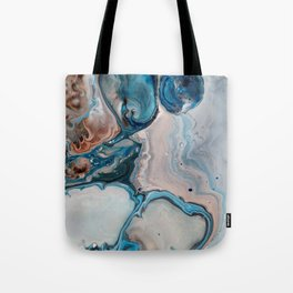 Blue Abstract Acrylic Painting - Fluid Technique  - Close-Up Tote Bag