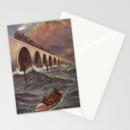 Lacy, Charles J. de (1860-1936) - Engineering Wonders of the World 1909 - Train crossing the Ba Stationery Cards