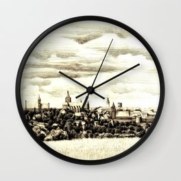 PANORAMA OF A GOTHIC CITY CHELMNO IN POLAND MADE IN FIGURATIVE STYLE Wall Clock