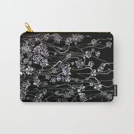 White ink. graphic with white ink  and black cardboard. flowers Carry-All Pouch