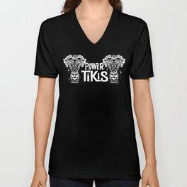 Power to the Tikis (white) Unisex V-Neck