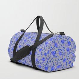Watercolor Peonies - Cobalt Blue Duffle Bag