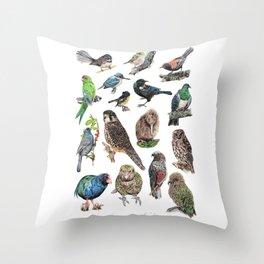Native NZ Birds Throw Pillow