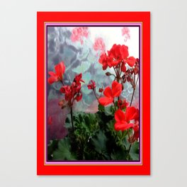 Red Geraniums Floral Red Abstract Canvas Print