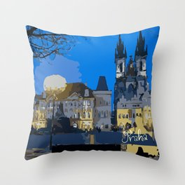 Praha night view Throw Pillow