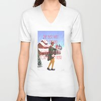 will ferrell V-neck T-shirts featuring Christmas Cheer / Elf by Earl of Grey