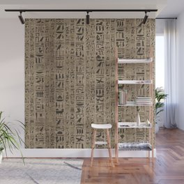 Egyptian hieroglyphs on wooden texture Wall Mural
