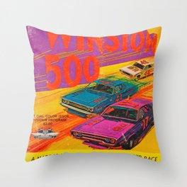 Vintage 1972 Race Poster Throw Pillow
