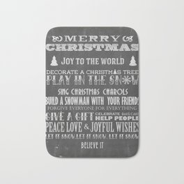 Christmas Chalk Board Typography Text Bath Mat