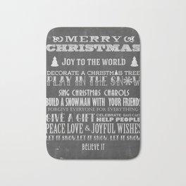 Christmas Chalk Board Typography Text Bath Mat