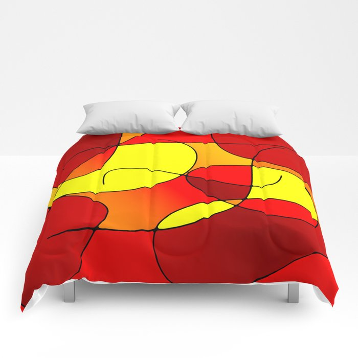 ABSTRACT CURVES #1 (Reds, Oranges & Yellows) Comforters