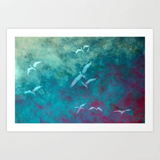 Fleeing the storm Art Print