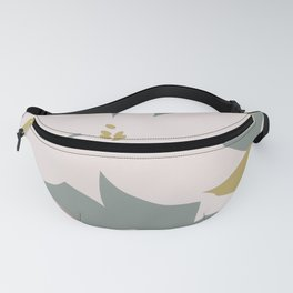 Leafy Floral Collage on Pale Pink Fanny Pack