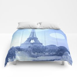 Paris Eiffel Tower Blue Comforters