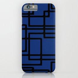 Retro Modern Black Rectangles On Deep Blue iPhone Case