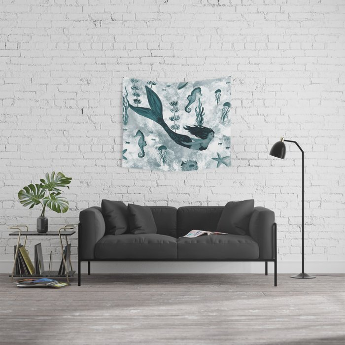Under the Sea (Teal) Part 2 Wall Tapestry