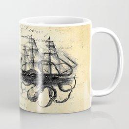 Kraken Octopus Attacking Ship Multi Collage Background Coffee Mug