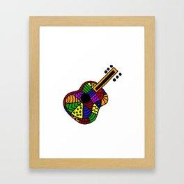 Colorful Folk Art Guitar Artwork Framed Art Print