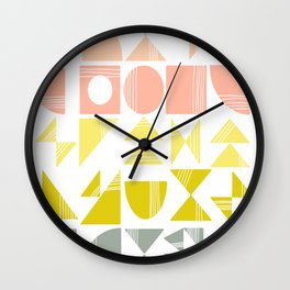 Organic Abstract Shapes in Soft Pastel Colors Wall Clock