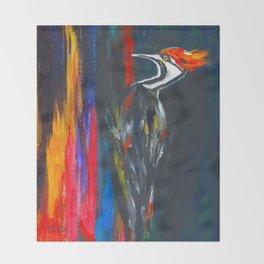 Fire Bird (Pileated Woodpecker) Throw Blanket