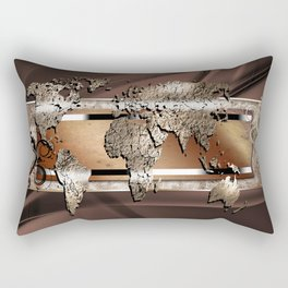 World map paint design art illustration Rectangular Pillow