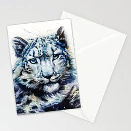 Snow leopard wild and free Stationery Cards