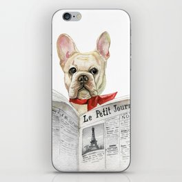French bulldog with newspaper, bonjour iPhone Skin