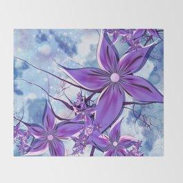 Painted Flowers Fractal Throw Blanket