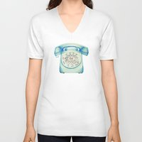 novelty V-neck T-shirts featuring Rotary Telephone - Ballpoint by One Curious Chip