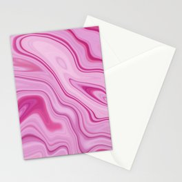 Pink Liquid Marble Watercolor Artwork Stationery Cards