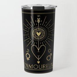 L'Amoureux or The Lovers Tarot Gold Travel Mug