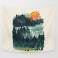 camp Wall Tapestries featuring Wilderness Camp by dan elijah g. fajardo