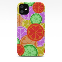 FRUITY CITRUS PATTERN BIG BOLD ORANGES LEMONS AND PINK GRAPEFRUIT WITH LIMES iPhone Case