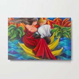 Sailing with bananas. Cuban art by Miguez Metal Print