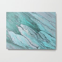 Arylic Pouring - Teal & Silver Metal Print