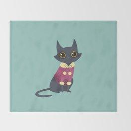 Cozy cat red Throw Blanket