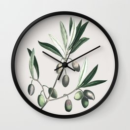 Olive Tree Branch Wall Clock