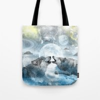wolves Tote Bags featuring Wolves by haroulita