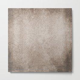 Beautiful ethnic mandala on neutral rustic texture Metal Print