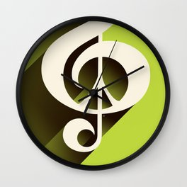 Lime Green Retro Music & Peace  Wall Clock