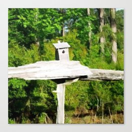 Rustic Knotted Pine Wood Fence Birdhouse Yard Art Canvas Print
